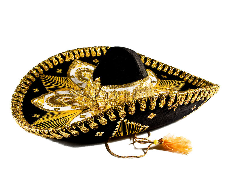 Mexican Hat. An Ornate Mexican Hat loaded with gold trim and ties stock photo