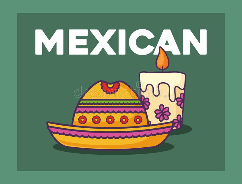 Mexican food design. Mexican hat and candle over green background, colorful design. vector illustration vector illustration