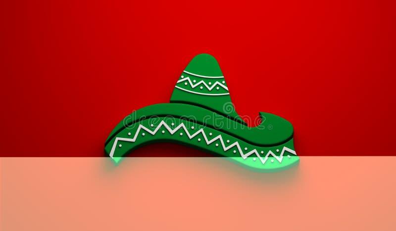 Mexican Hat- Cinco de Mayo Celebration. 3D Render Illustration. Green Hat in Red Background Illustration stock illustration