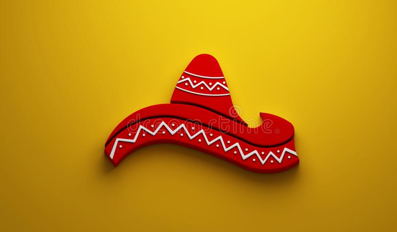Mexican Hat- Cinco de Mayo Celebration. 3D Render Illustration. Red Hat in Yellow Background Illustration royalty free illustration