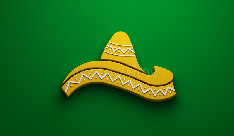 Mexican Hat- Cinco de Mayo Celebration. 3D Render Illustration. Yellow Hat in Green Background Illustration vector illustration