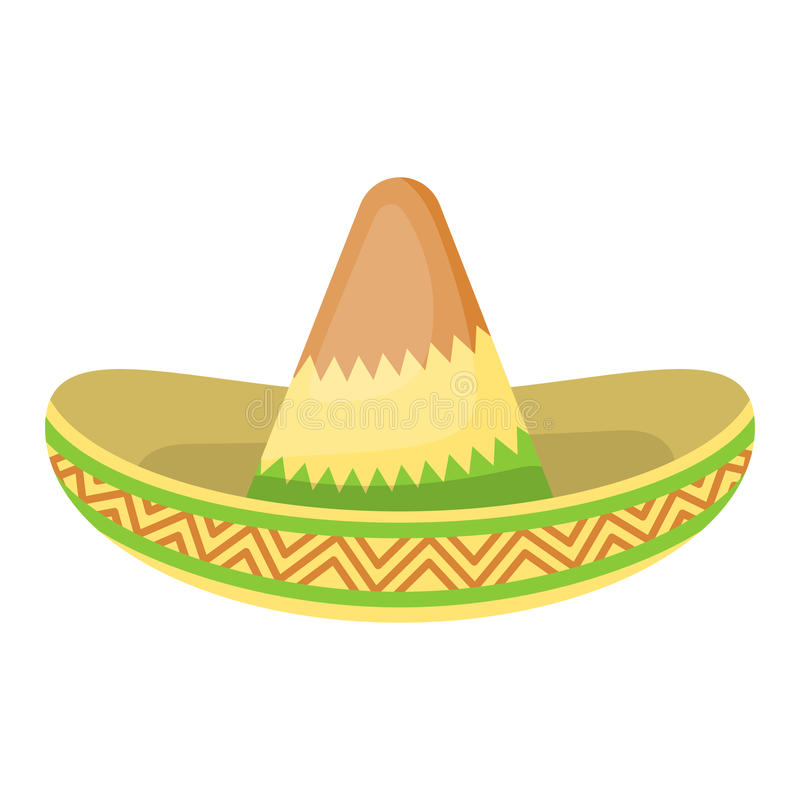 Mexican hat colorful flat icon. Vector illustration in cartoon style vector illustration