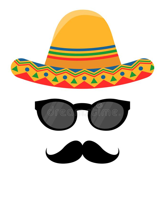 Mexican hat with black glasses and mustaches. Mexican hat design with black glasses and mustaches royalty free illustration