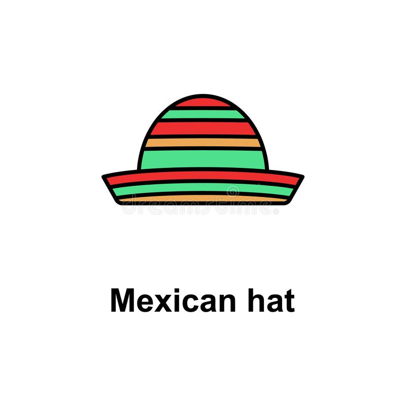 Mexican hat icon. Element of Cinco de Mayo color icon. Premium quality graphic design icon. Signs and symbols collection icon for. Websites, web design, mobile stock illustration
