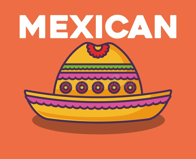 Mexican food design. Mexican hat icon over orange background, colorful design. vector illustration vector illustration