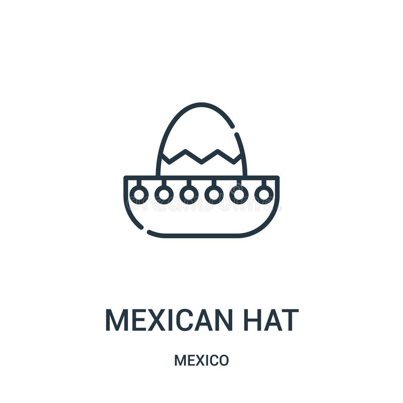 Mexican hat icon vector from mexico collection. Thin line mexican hat outline icon vector illustration. Linear symbol for use on web and mobile apps, logo stock illustration