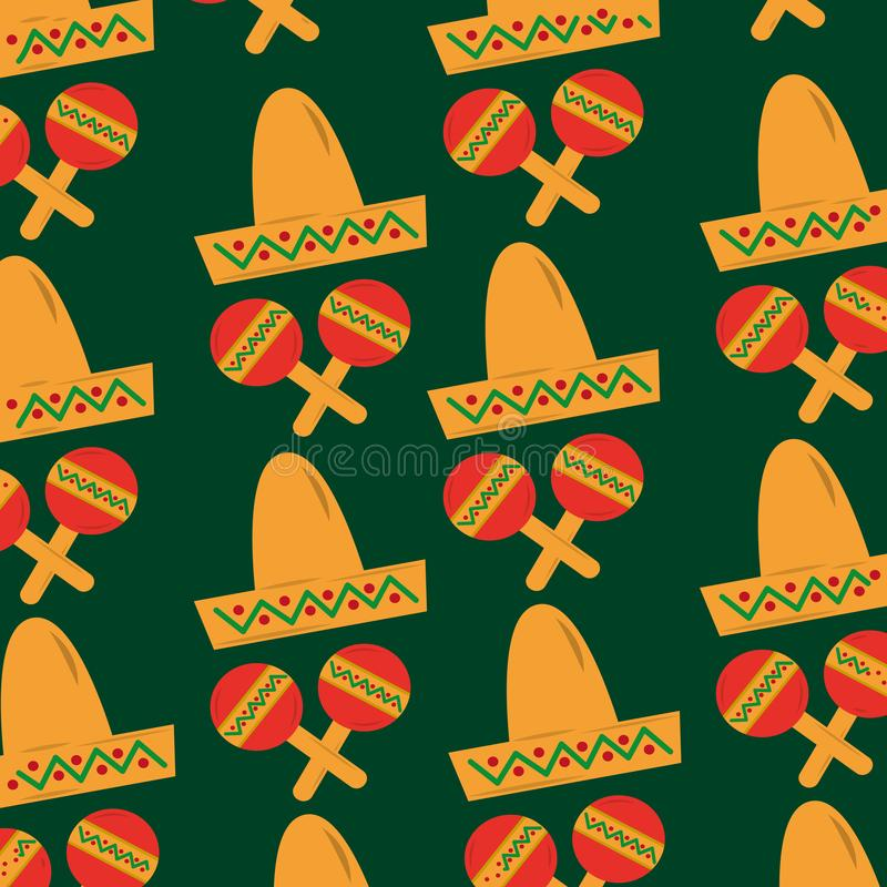 Mexican hat and maracas folkore culture. Vector illustration stock illustration