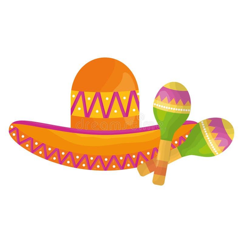 Mexican hat with maracas. Vector illustration design vector illustration