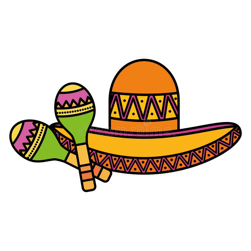 Mexican hat with maracas. Vector illustration design royalty free illustration