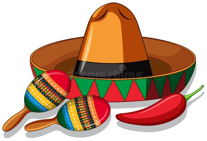 Mexican hat and maracas on white background. Illustration stock illustration