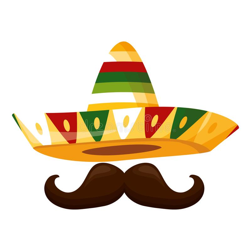 Mexican hat with mustache. Design vector illustration royalty free illustration