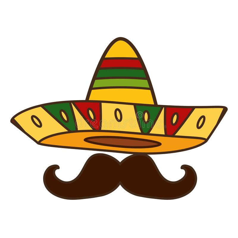 Mexican hat with mustache. Design vector illustration stock illustration