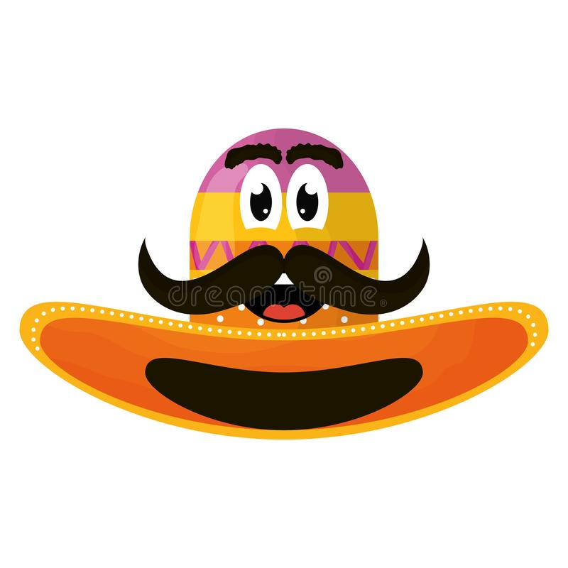 Mexican hat with mustache emoji character stock illustration