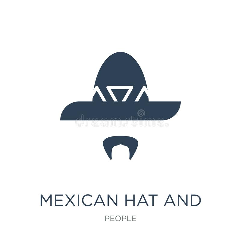 Mexican hat and mustache icon in trendy design style. mexican hat and mustache icon isolated on white background. mexican hat and. Mustache vector icon simple vector illustration