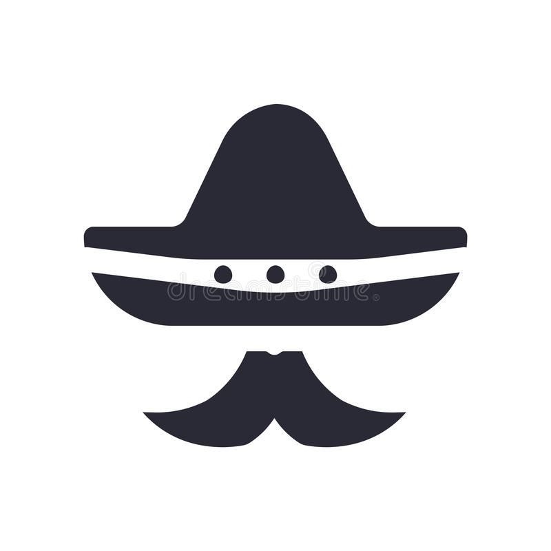 Mexican hat and mustache icon vector sign and symbol isolated on white background, Mexican hat and mustache logo concept stock illustration