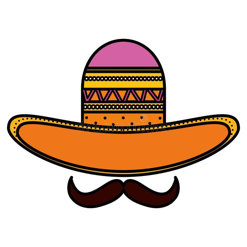 Mexican hat with mustache traditional icon. Vector illustration design stock illustration