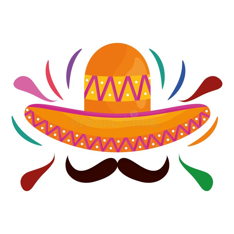 Mexican hat with mustache traditional icon. Vector illustration design royalty free illustration