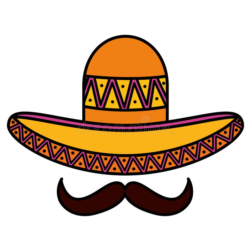 Mexican hat with mustache traditional icon. Vector illustration design vector illustration