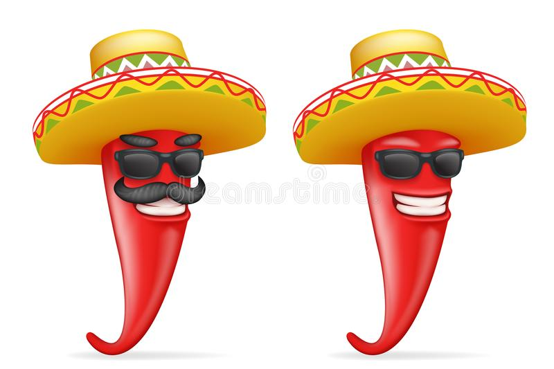 Mexican hat red cool hot chili pepper sunglasses mustache happy character realistic 3d cartoon design vector. Mexican hat red cool hot chili pepper sunglasses vector illustration