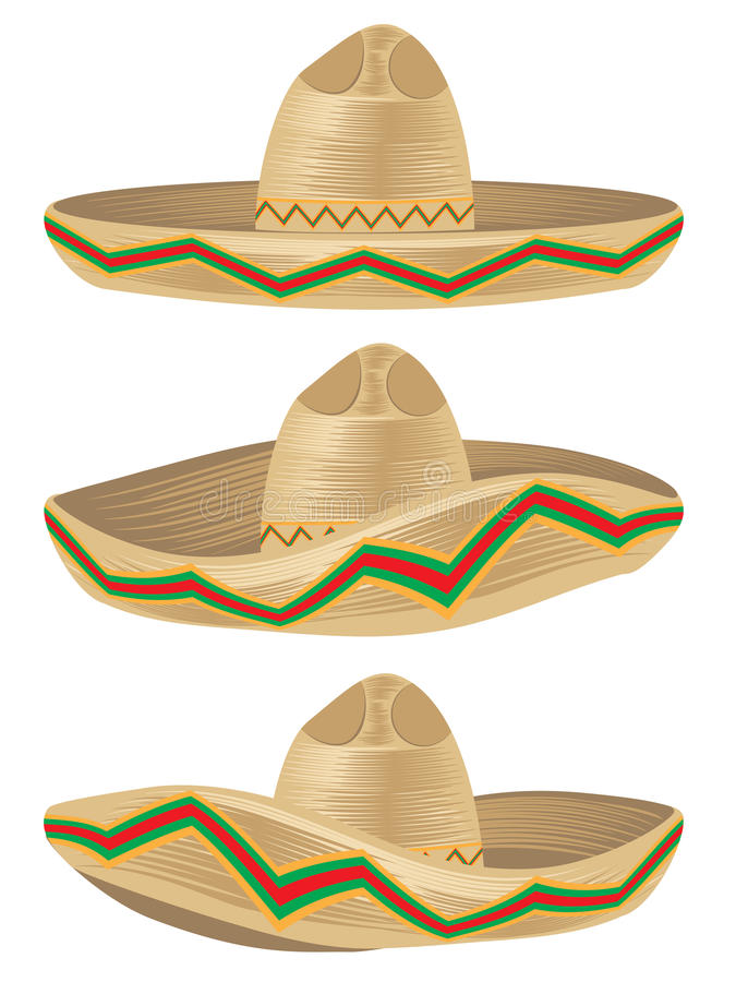 Mexican Hat Sombrero. Colorful mexican hat, sombrero straw hat icon vector illustration