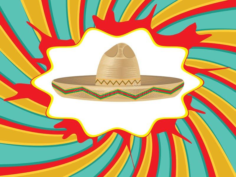 Mexican Hat Sombrero. Colorful mexican hat, sombrero straw hat icon vector illustration