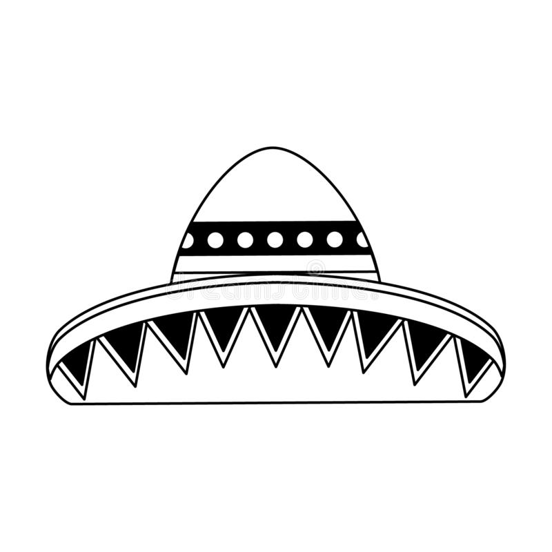 Mexican hat sombrero isolated in black and white stock illustration