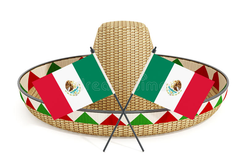 Mexican hat or sombrero and Mexican flags on white background. 3D illustration.  stock illustration
