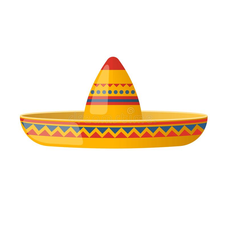 Mexican hat sombrero, traditional hat and clothes. Carnival. Mexican hat funny sombrero, traditional hat and clothes. Carnival masquerade, festival in Mexico. A vector illustration