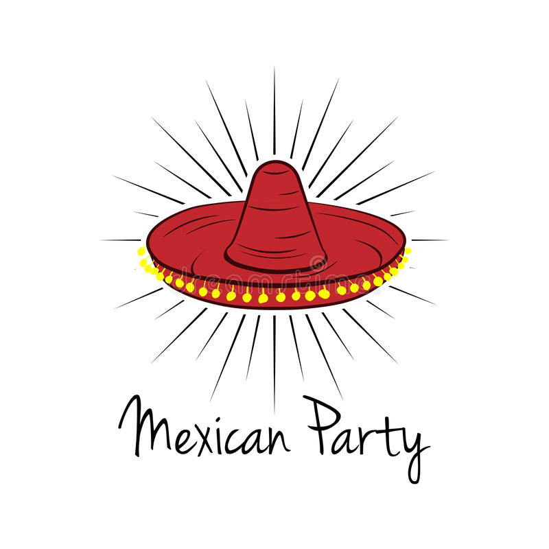 Mexican hat, sombrero. Vector illustration on white. Background stock illustration