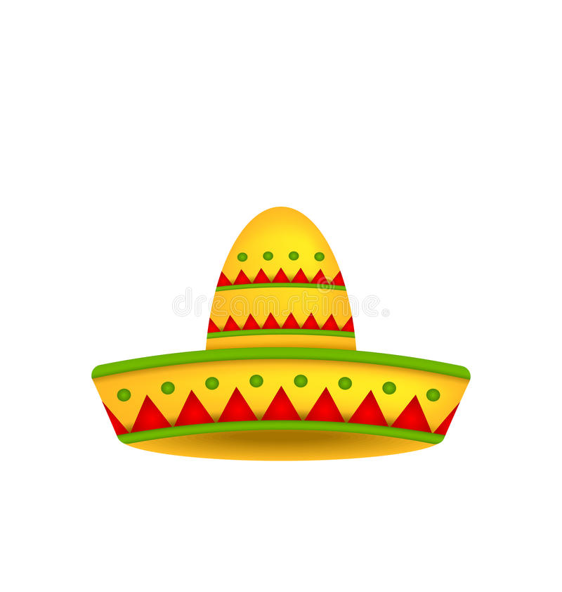 Mexican Hat Sombrero on White Background. Illustration Mexican Hat Sombrero on White Background. Symbol of Mexico - Vector stock illustration