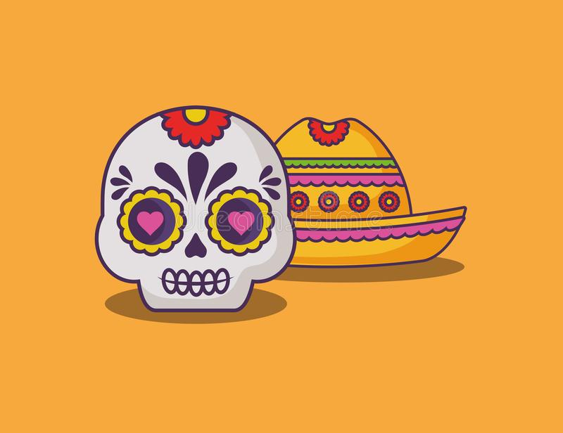Mexican sugar skull design stock illustration