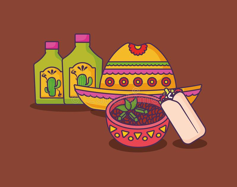 Mexican food design. Mexican hat with tequila bottles and mexican bowl over brown background, colorful design. vector illustration vector illustration