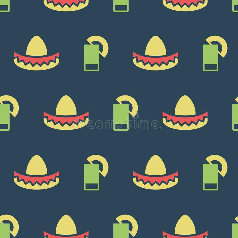 Mexican hat and tequila pattern. Simple vector illustration with ability to change stock illustration