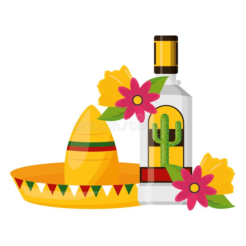 Mexican hat tequila. Mexican hat traditional tequila hat flowers vector illustration stock illustration