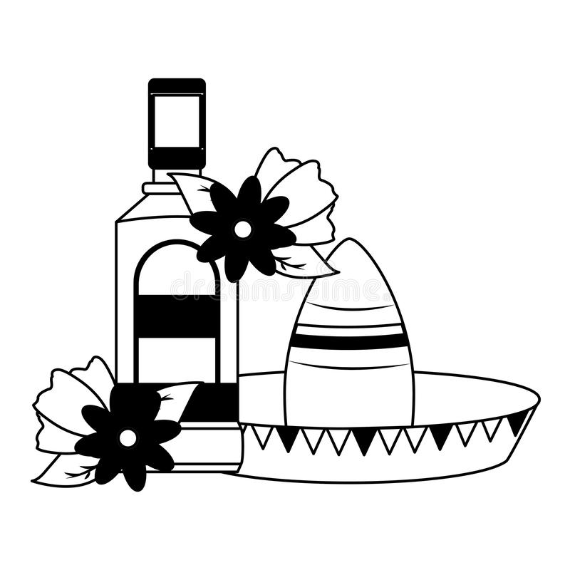 Mexican hat tequila. Mexican hat traditional tequila hat flowers vector illustration royalty free illustration