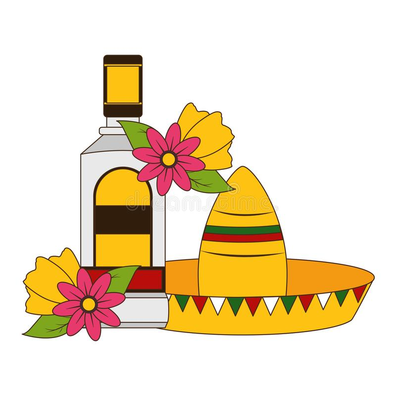 Mexican hat tequila. Mexican hat traditional tequila hat flowers vector illustration vector illustration