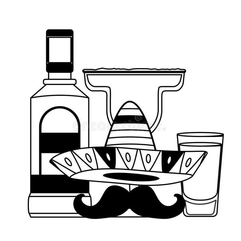 Mexican hat tequila. Mexican hat traditional tequila hat vector illustration royalty free illustration