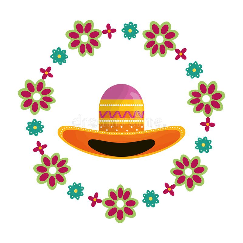 Mexican hat traditional with floral decoration. Vector illustration design vector illustration