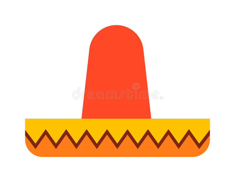 Mexican hat vector. Mexican hat sombrero traditional fashion fiesta symbol. Carnival accessory mexican hat isolated travel hispanic design. Festival fun national royalty free illustration
