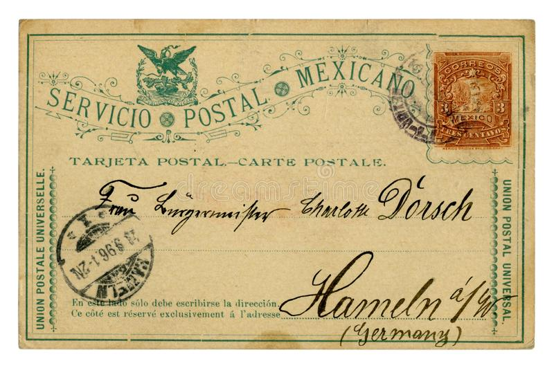 Laredo, Mexico - circa 1896: Mexican historical postal card: with an imprinted stamp three centavos, addressed to Hameln Germany,. Mexican historical postal card royalty free stock photos