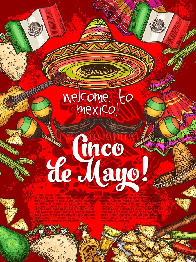 Mexican holiday, Cinco de Mayo day celebration. Cinco de Mayo Mexican holiday. Welcome to Mexico, invitation with hat and mustache, tortilla and nachos. Vector stock illustration