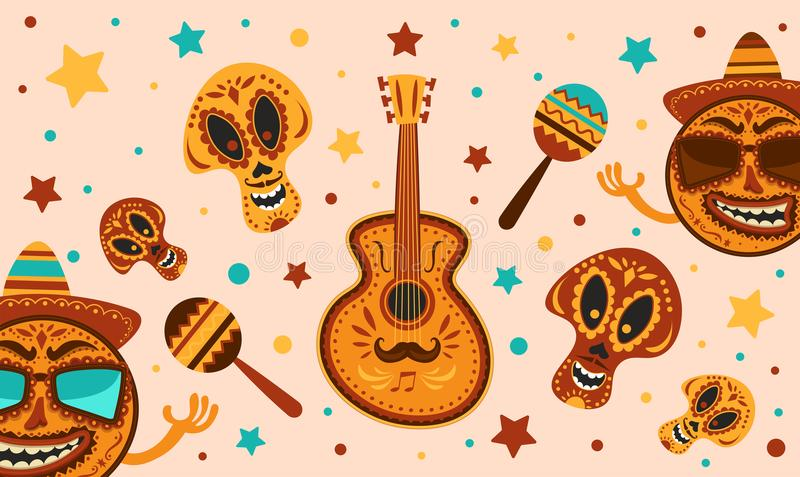 Mexican holiday Cinco De Mayo. Vector template with traditional Mexican symbols skull, guitar, Mexican Maracas. Day Of Dead Tradi vector illustration
