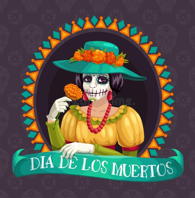 Mexican holiday of death, Dia de Los Muertos stock illustration