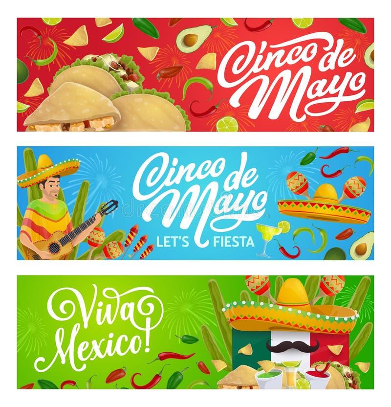 Mexican holiday food, sombrero, guitar and maracas. Cinco de Mayo fiesta party vector greeting banners with Mexican holiday mariachi sombreros, food and drink vector illustration