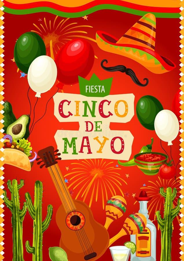 Mexican holiday guitar and sombrero. Cinco de Mayo. Cinco de Mayo Mexican holiday mariachi sombrero, guitar, fiesta party food and drink vector design. Cactus royalty free illustration