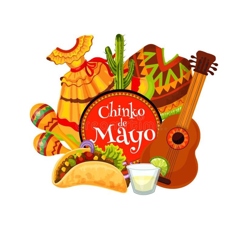 Mexican holiday maracas, guitar, mariachi costumes. Cinco de Mayo fiesta party mariachi guitar, maracas and costumes vector greeting card. Mexican holiday stock illustration