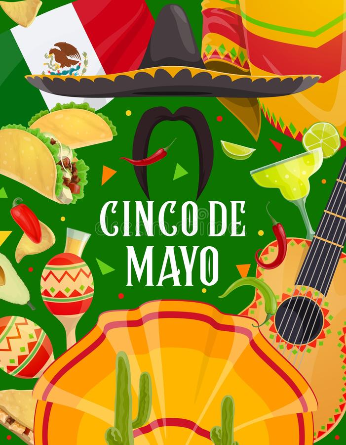 Mexican holiday sombrero, guitar, maracas, cactus. Cinco de Mayo fiesta mariachi sombrero, guitar and moustaches vector design of Mexican holiday greeting card stock illustration