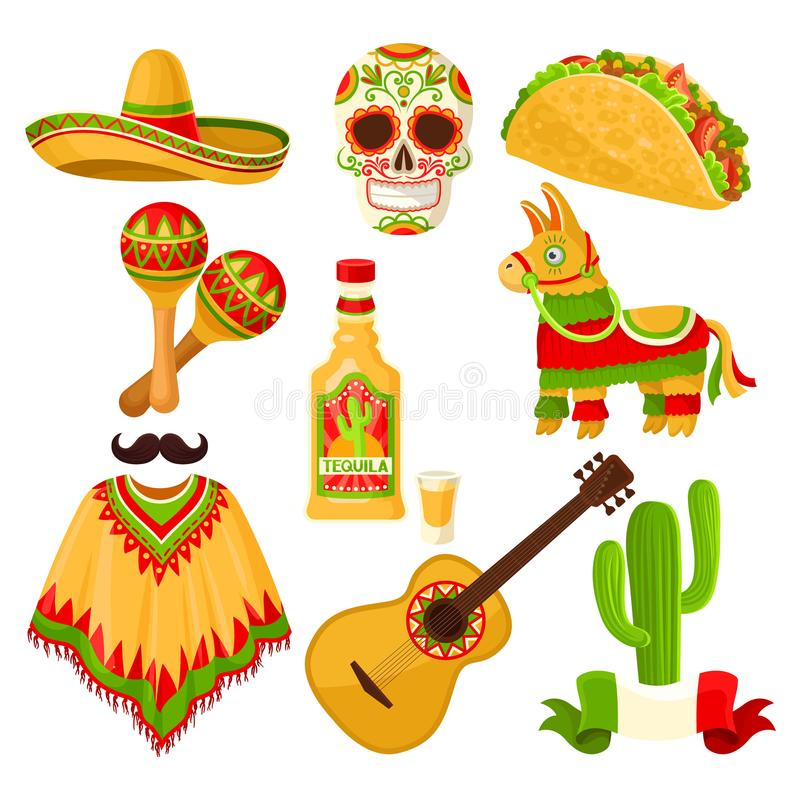 Mexican holiday symbols set, sombrero hat, sugar skull, taco, maracas, pinata, tequila bottle, poncho, acoustic guitar vector illustration