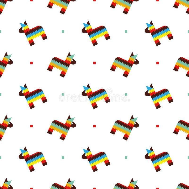 Mexican horse pinata pattern vector illustration
