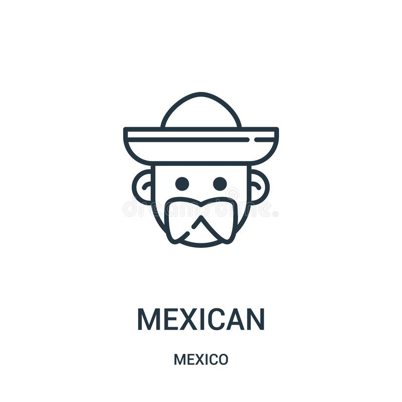 mexican icon vector from mexico collection. Thin line mexican outline icon vector illustration stock illustration